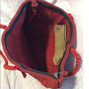Vintage Bags - Vintage Woven Red Fabric Tote